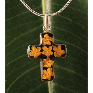Handmade Sterling Silver Yellow Flowers Bouquet Cross Necklace (Mexico)