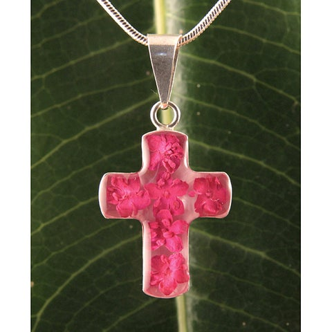 Handmade Sterling Silver Hot Pink Flowers Bouquet Cross Necklace (Mexico)