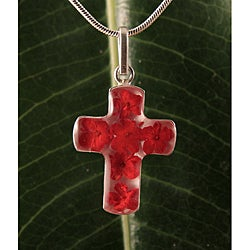 Sterling Silver Red Flowers Bouquet Cross Necklace (Mexico)