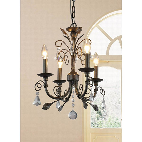 Sapri 4-light Brushed oak Chandelier with Crystal