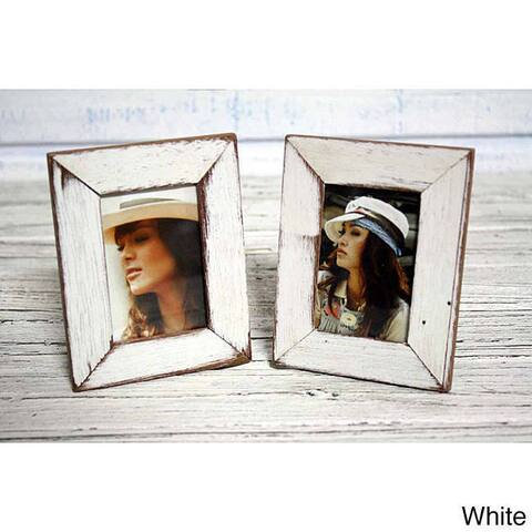 Handmade Boat Wood White Photo Frame, Set of 2 (Thailand