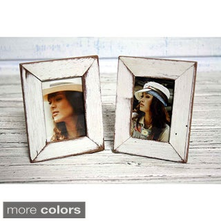 Set of 2 Boat Wood White Photo Frames , Handmade in Thailand