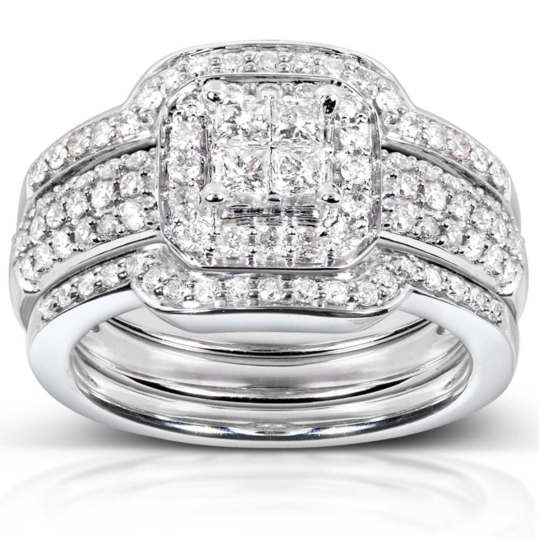 Annello By Kobelli 14k White Gold 3 4ct Tdw Diamond 3 Piece Bridal Ring Set