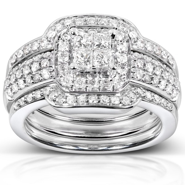 Annello by Kobelli 14k White Gold 3/4ct TDW Diamond 3-piece Bridal Ring Set (H-I, I1-I2)