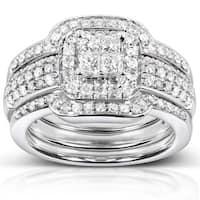 Annello by Kobelli 14k White Gold 3/4ct TDW Diamond 3-piece Bridal Ring Set