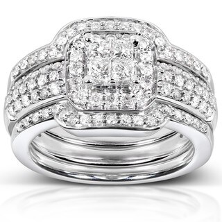 Annello by Kobelli 14k White Gold 3/4ct TDW Diamond 3-piece Bridal Ring Set
