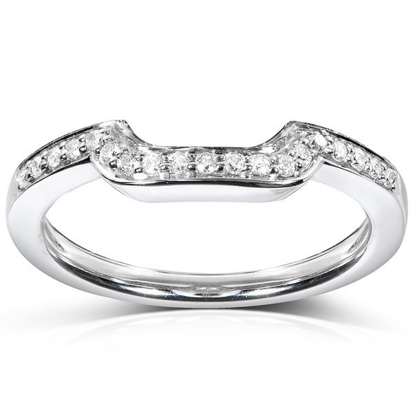 Annello by Kobelli 14k White Gold 1/10ct TDW Diamond Curved Wedding Band (H-I, I1-I2)