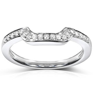 Annello 14k White Gold 1/10ct TDW Diamond Curved Wedding Band (H-I, I1-I2)