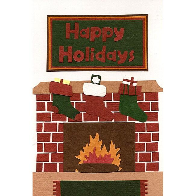 Set of 6 Holiday Fireplace Christmas Cards (Rwanda)