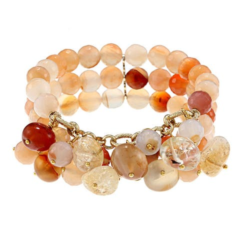 Miadora Brass Agate and Multi-Colored Quartz 3-Row Stretch Bracelet