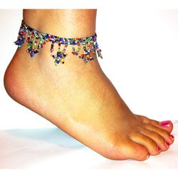 Glass Bead Multicolored Stars Anklet (Guatemala)