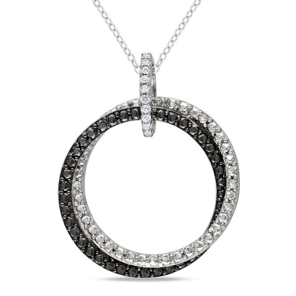 Miadora Sterling Silver Diamond Accent Black and White Circle Necklace