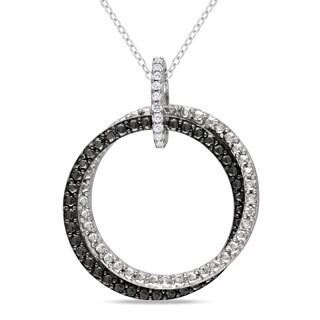 Miadora Sterling Silver Diamond Accent Black and White Circle Necklace