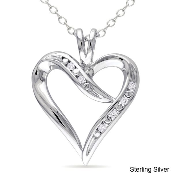 Miadora Diamond Accent Open Heart Dangle Necklace in Sterling Silver (G-H, I2-I3)