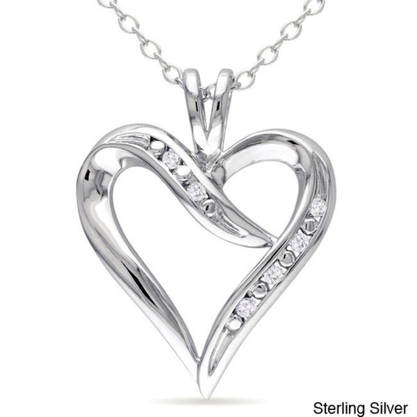 Miadora Sterling Silver Diamond Accent Open Heart Dangle Necklace