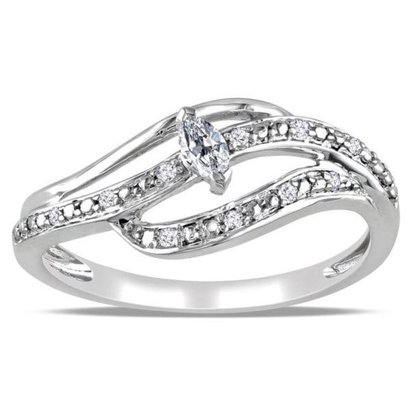 Miadora 10k White Gold 1/6ct TDW Marquise Diamond Ring