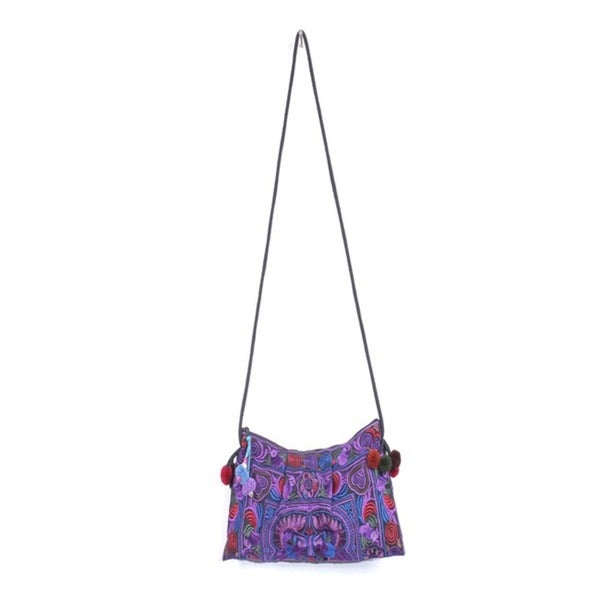 Handmade Cotton Purple Leyla Purse (Thailand)