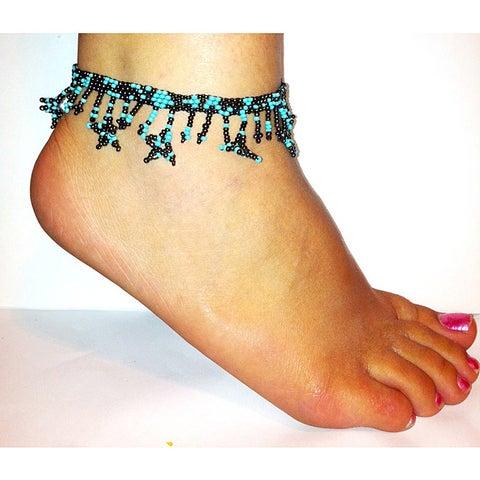 Handmade Blue and Mocha Glass Bead Stars Anklet (Guatemala)