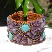 Handmade Turquoise Beaded Cuff Bracelet (Thailand)