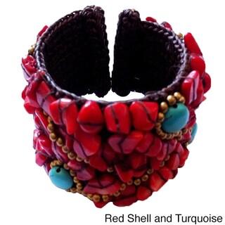 Handmade Turquoise Beaded Cuff Bracelet (Thailand)