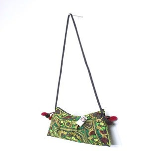 Handmade Cotton Leyla 'Foliage' Purse (Thailand)