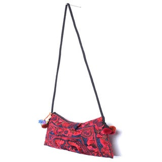 Handmade Cotton Leyla 'Red' Purse (Thailand)