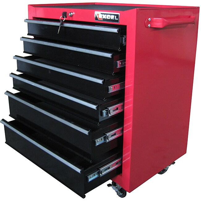 """Excel 26-inch Red Roller Tool Cabinet (26"""" six drawer rol..."""