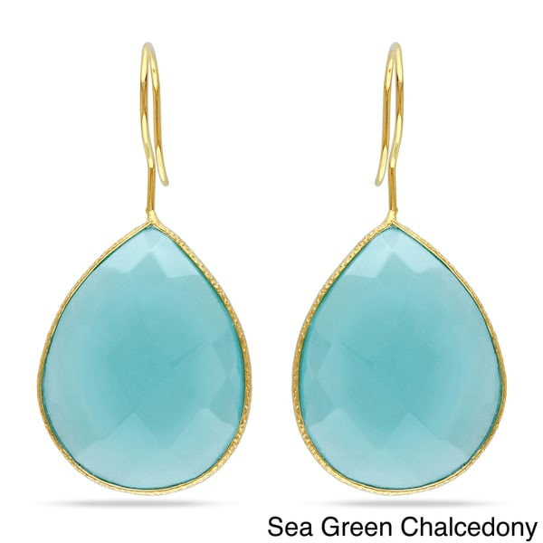 Miadora Goldtone Pear-cut Gemstone Dangle Earrings (30ct TGW)