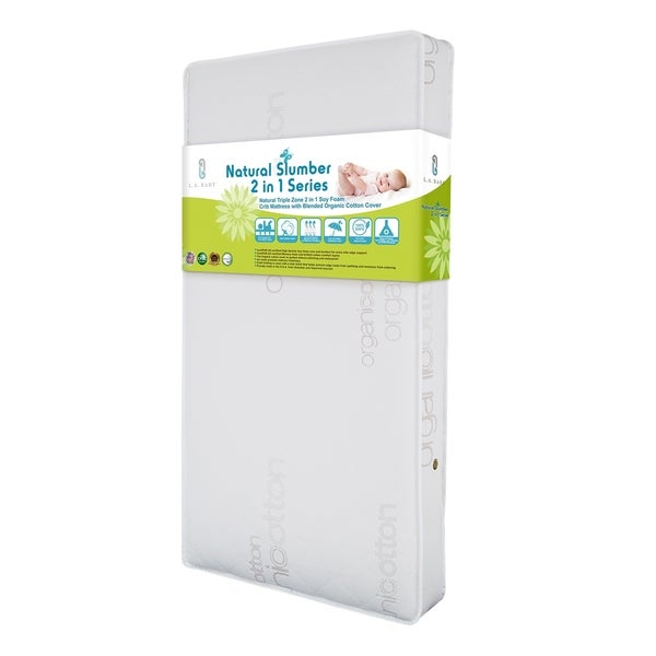 Natural Triple Zone 2-in-1 Soy Foam Crib Mattress with Blended Organic Cotton Cover - White