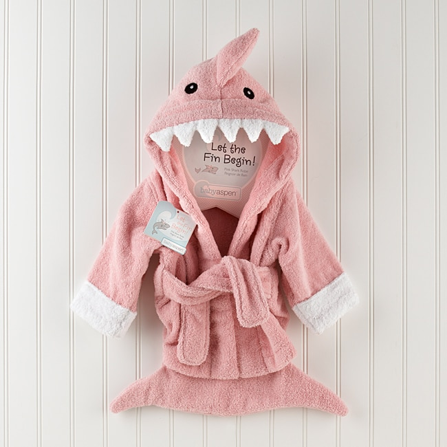 Baby Aspen 'Let the Fin Begin' Pink Shark Robe
