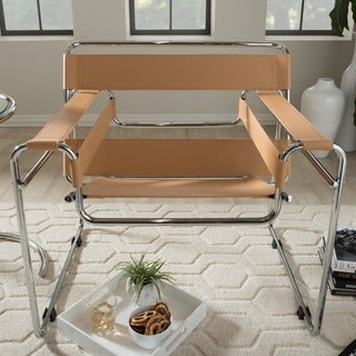 'Jericho' Tan Leather Mid-Century Accent Chair