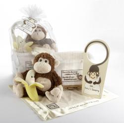 Baby Aspen Five Little Monkeys 5-Piece Gift Set in Basket - Thumbnail 1