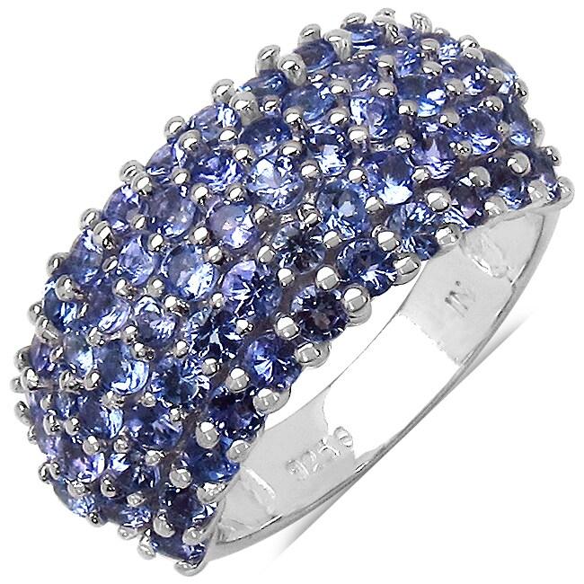 Malaika Sterling Silver Tanzanite 5-row Ring (1 4/5ct TGW)