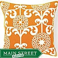 20 x 20-inch Floret Orange Cotton Decorative Pillow