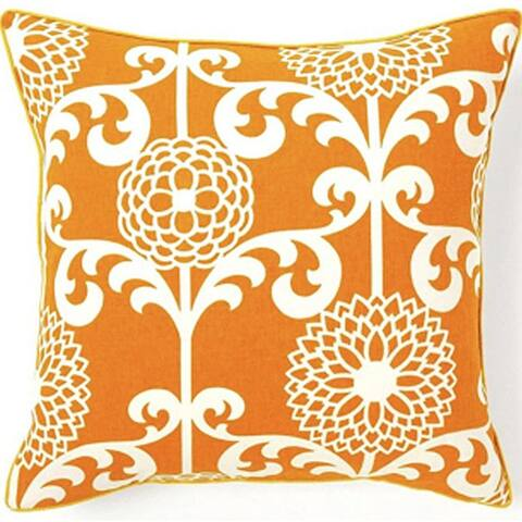 Jiti Orange Floral Tropical Handmade Cotton Square Accent Pillow - 20 x 20