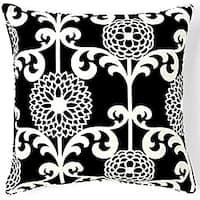 Floret Black 20x20-inch Cotton Decorative Pillow