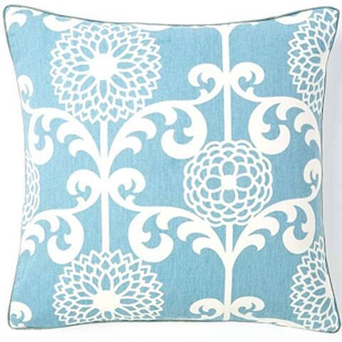Jiti White Floral Cotton Accent Pillow - 20 x 20