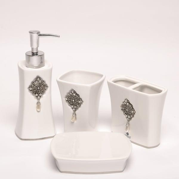 Jewel White Boutique Faux-jewel Ceramic Bath Accessory 4-piece Set