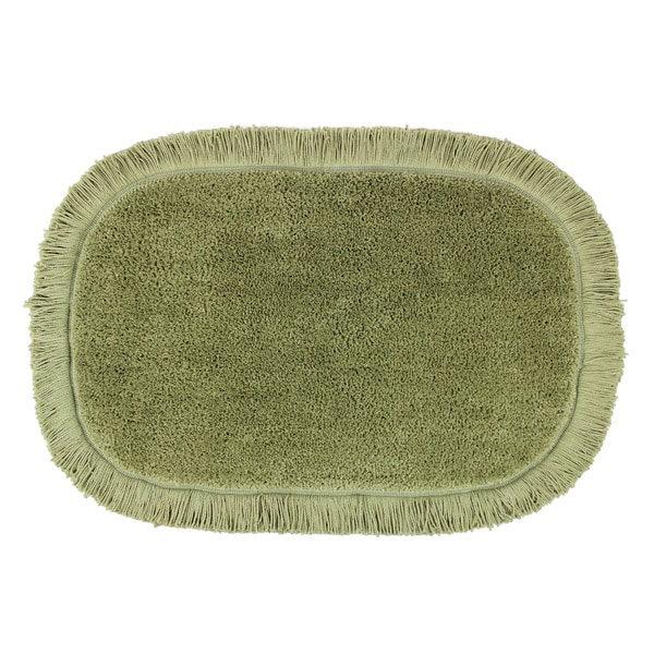 Sherry Kline Sage Green Fringed 20 x 30 Bath Rug (Set of 2)