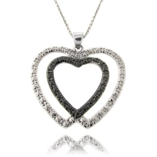 Finesque Silver Overlay White Diamond Accent Double Heart Necklace