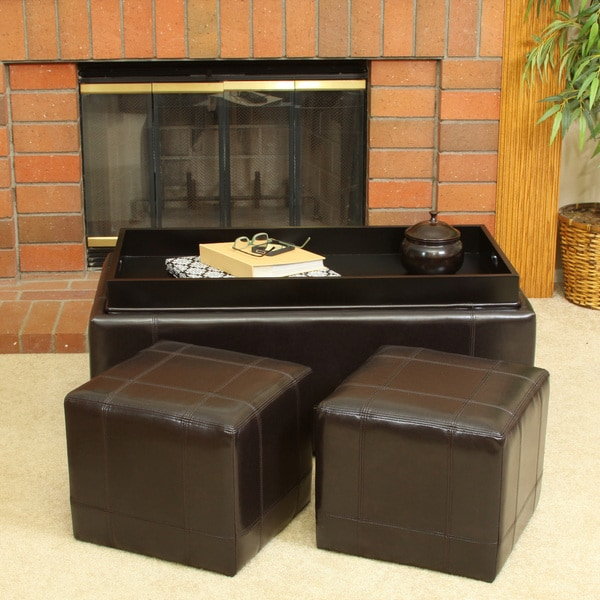 Drake 3 Piece Bonded Leather Tray Top Nested Storage Ottoman Bench By Christopher Knight Home