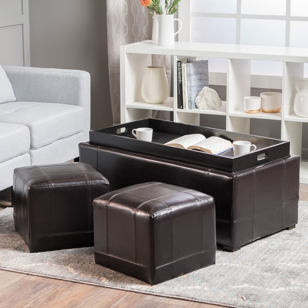 Shop Drake 3-piece Bonded Leather Tray Top Nested Storage