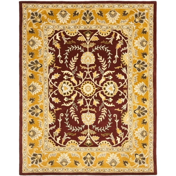 "Safavieh Handmade Heritage Timeless Traditional Red/ Gold Wool Rug - 7'6"" x 9'6"""
