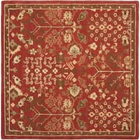 Safavieh Handmade Heritage Timeless Traditional Red Wool Rug - 6' x 6' Square