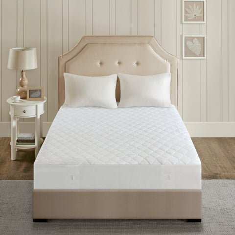 Beautyrest Cotton Blend Full Size Heated Electric Mattress Pad - White