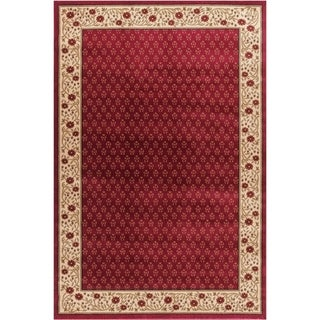 Terrazzo European Floral Border Ombre Gradient Red, Ivory, and Beige Area Rug (5'3 x 7'3)