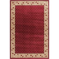 "Well Woven Terrazzo European Floral Border Ombre Gradient Red, Ivory, Beige Area Rug - 5'3"" x 7'3"""