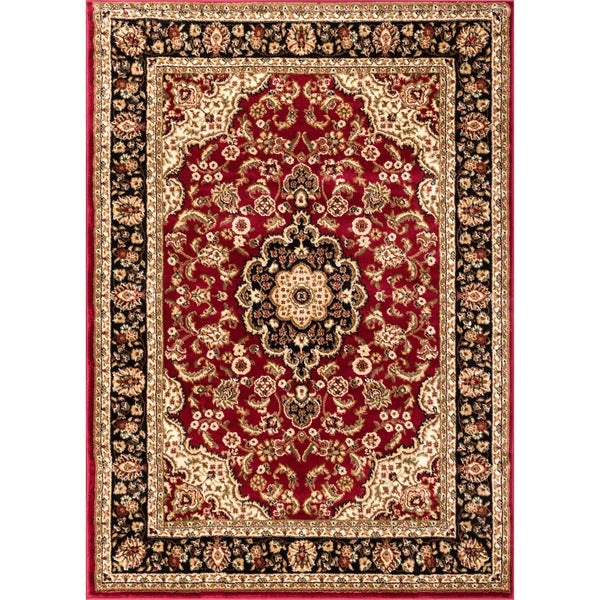 'Medallion Kashan' Red Polypropylene Rug (5'3 x 7'3)