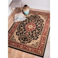 Well Woven Medallion Kashan Black Traditional Oriental Persian Formal Medallion Floral Area Rug - 7'10 x 9'10