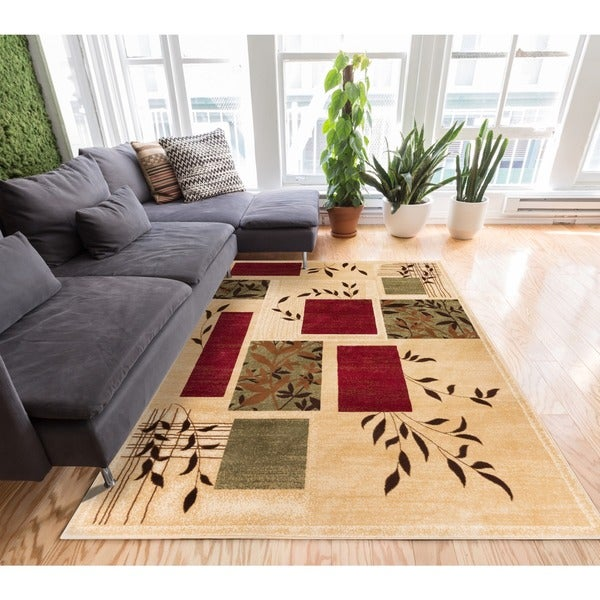 "Hannover Floral Nature Contemporary Boxes Ivory Beige Green and Red Area Rug - 5'3"" x 7'3"""